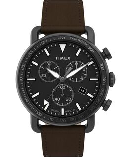 Port Chronograph 42mm Leather Strap Watch Black/Brown large
