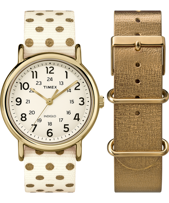 Weekender 38mm Polka Dot Strap/Cream Dial Gift Set  large