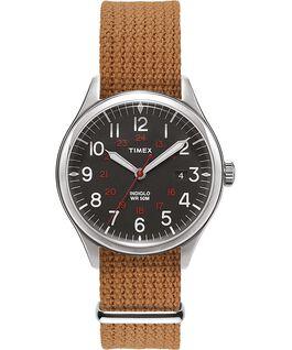 Waterbury United 38mm Fabric Strap Watch Stainless-Steel/Cream large