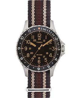 Navi Ocean 38mm Fabric Strap Watch Black/Brown large