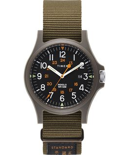 Acadia 40mm Military Grosgrain Strap Watch Green/Black large