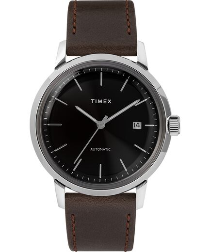 8b3e79e10 Marlin® Automatic 40mm Leather Strap Watch Black/Silver-Tone large