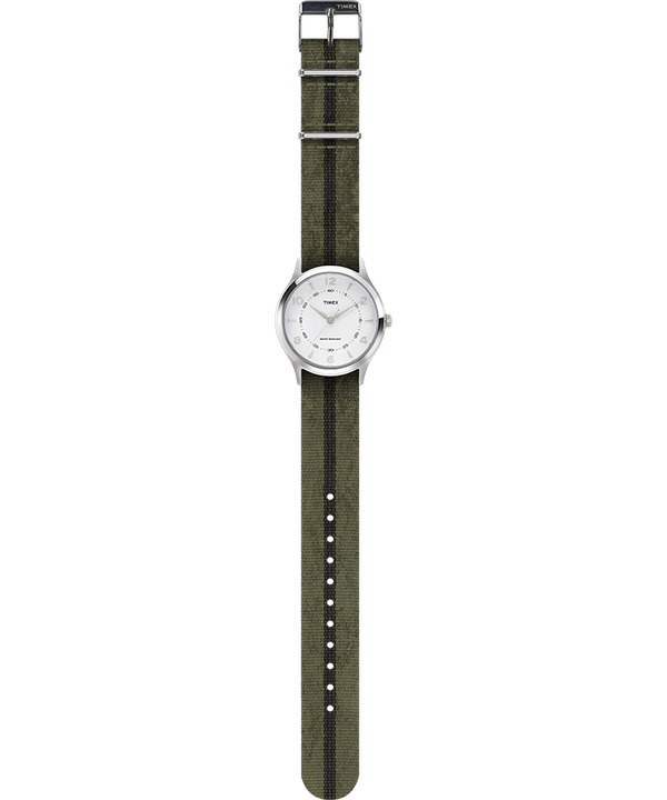 Whitney Village 36mm Grosgrain Strap Watch Stainless-Steel/White large
