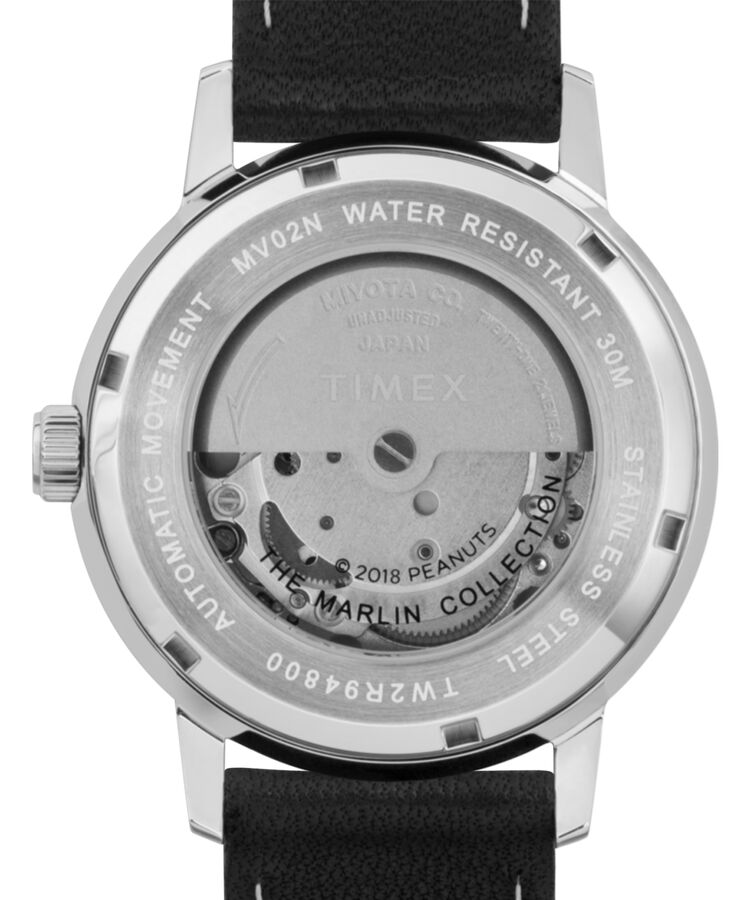 17b075e53 Timex X Peanuts - Marlin® Automatic Featuring Snoopy 40mm Leather Strap  Watch Black/Silver