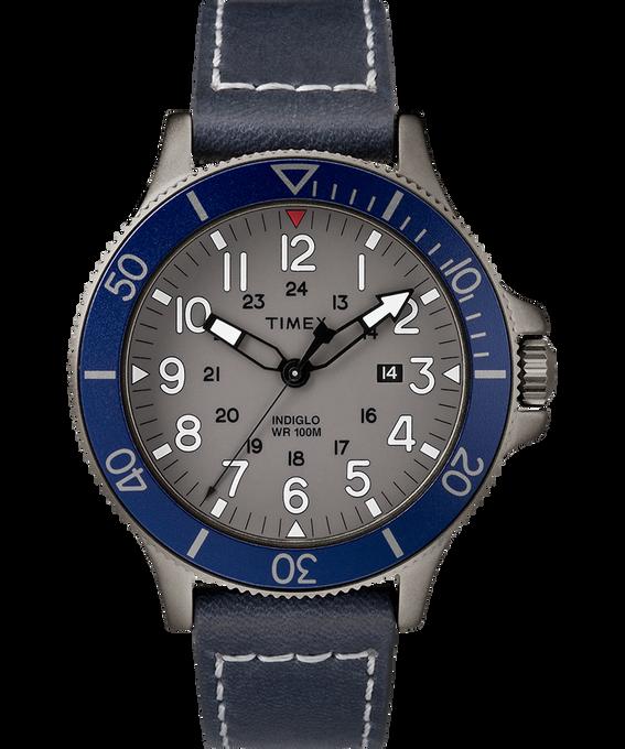 Allied Coastline 43mm Leather Watch Gray/Blue large