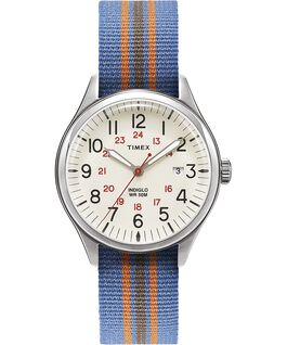 Waterbury United 38mm Fabric Strap Watch Cream/Blue large