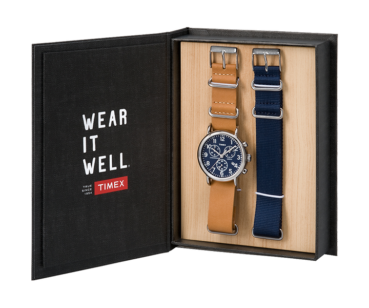 Weekender Chronograph 40mm Leather Strap Watch Gift Set Silver-Tone/Tan/Blue large