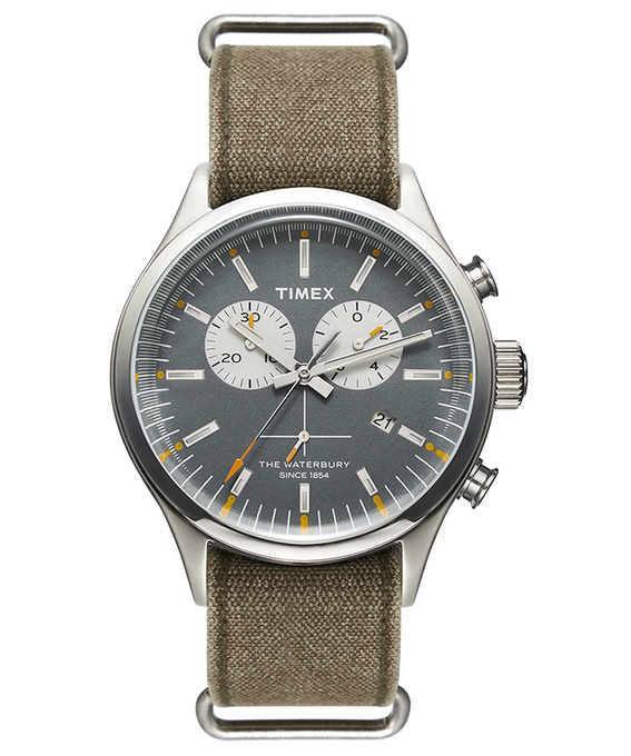 Waterbury Chronograph 42mm Stonewashed Canvas Strap Watch  large
