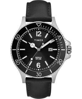 Harborside 42mm Leather Strap Watch Chrome/Black large