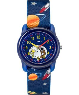 Peanuts 28mm Elastic Fabric Strap Watch Blue large