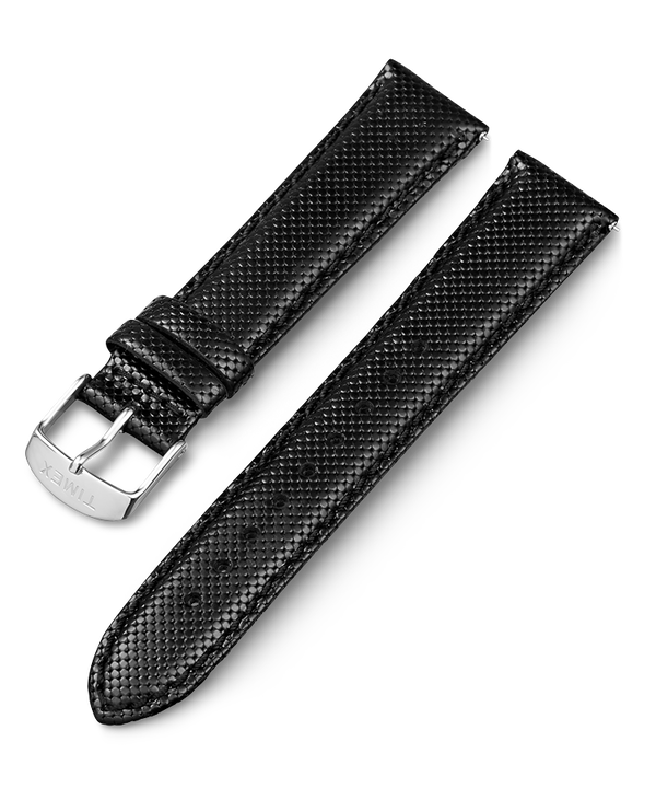 20mm Leather Strap Black large