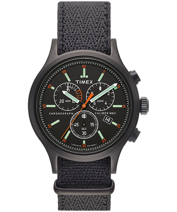 Archive Allied Chronograph 42mm Fabric Strap Watch Black/Gray large