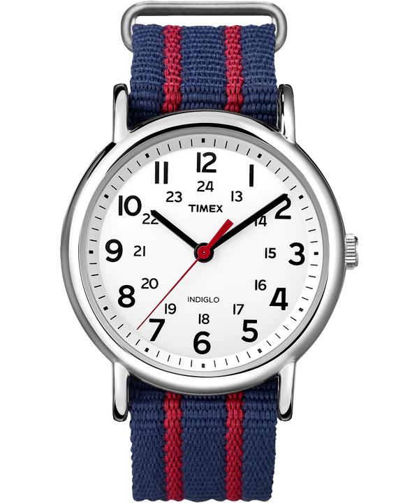 Weekender 38mm Fabric Strap Watch Chrome/Blue/White large