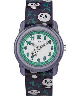 Kids Analog 28mm Elastic Fabric Strap Watch With Animal Prints Purple/White large