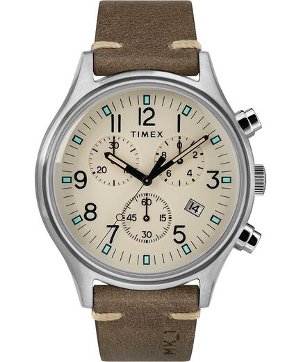 3e486cb79 MK1 Steel Chronograph 42mm Leather Strap Watch Silver-Tone/Brown/Natural  large