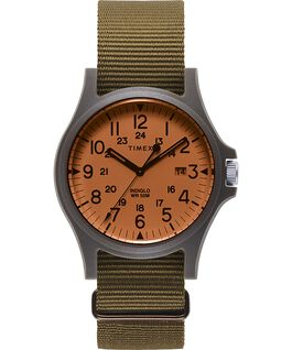 Acadia 40mm Fabric Strap Watch Orange/Olive large