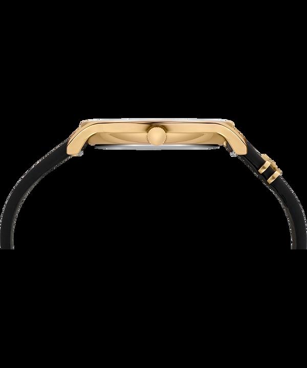 Transcend 38mm Leather Strap Watch Gold-Tone/Black large