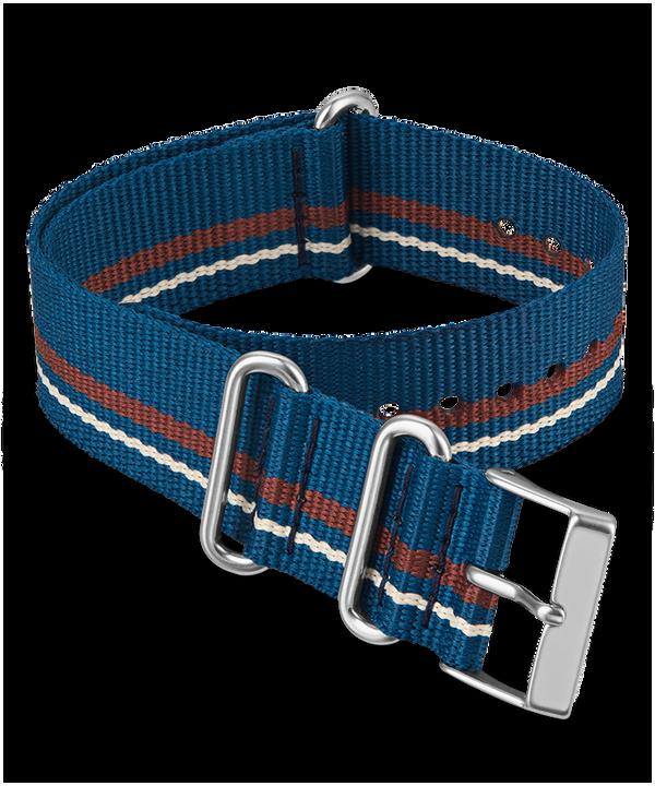 20mm Fabric Slip-Thru Double Layer Strap Blue large