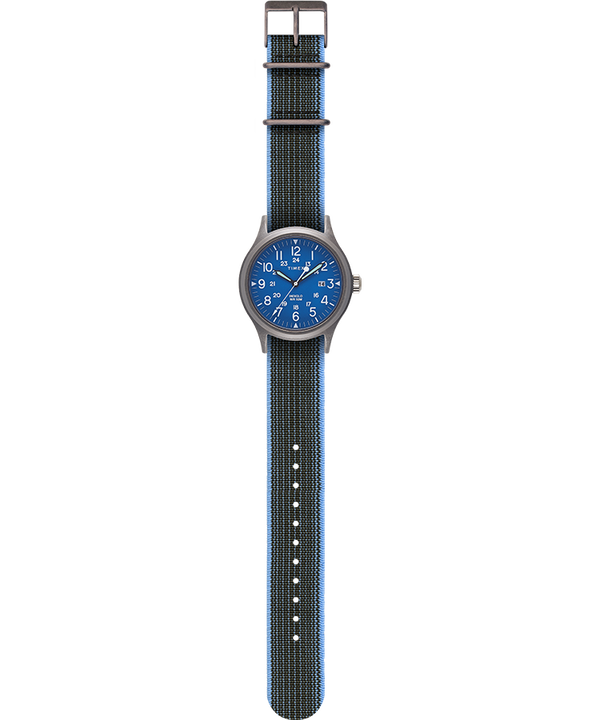 Allied 40mm Reversible and Elastic Fabric Strap Watch Blue/Blue large