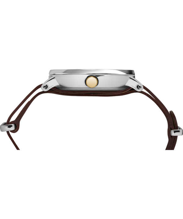 Southview 41mm Leather Strap Watch Chrome/Brown/Cream/Gold-Tone large