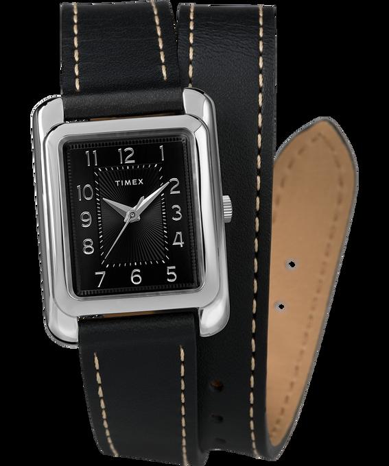 Addison Double Wrap 25mm Leather Strap Watch Chrome/Black large