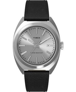 Milano XL 38mm Leather Strap Watch Stainless-Steel/Black/Silver-Tone large
