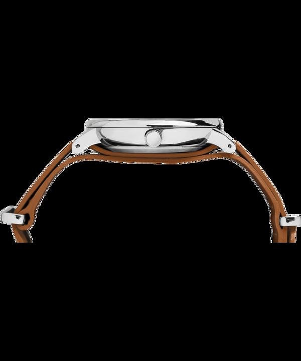 Fairfield 41mm Slip-Thru Leather Strap Watch Chrome/Brown/Black large