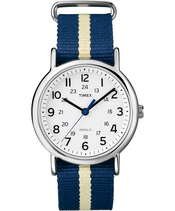 Weekender 38mm Nylon Strap Watch Silver-Tone/Blue/White large