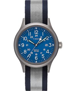 Allied 40mm Reflective and Reversible Fabric Strap Watch Silver-Tone/Blue large