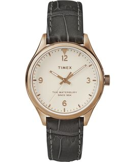 Waterbury Womens 34mm Leather Watch Rose-Gold-Tone/Gray/White large