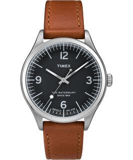 Waterbury Traditional 38mm Leather Strap Watch Stainless-Steel/Tan/Black large