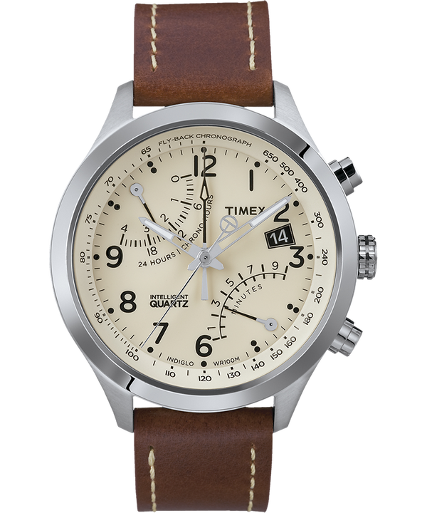 Intelligent Quartz® Flyback Chronograph 43mm Leather Strap Watch Stainless-Steel/Brown/Cream (large)