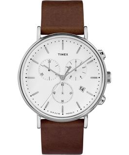 Fairfield Contactless Chronograph 41mm Leather Strap Watch Silver-Tone/Tan/White large