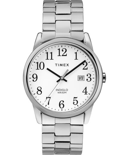ad13677fe Easy Reader Date 38mm Expansion Band Watch Chrome/Silver-Tone/White large