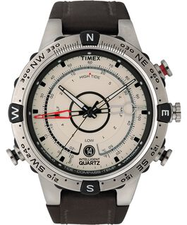 Intelligent Quartz Tide Temp Compass 44mm Leather Watch Stainless-Steel/Brown/Natural large