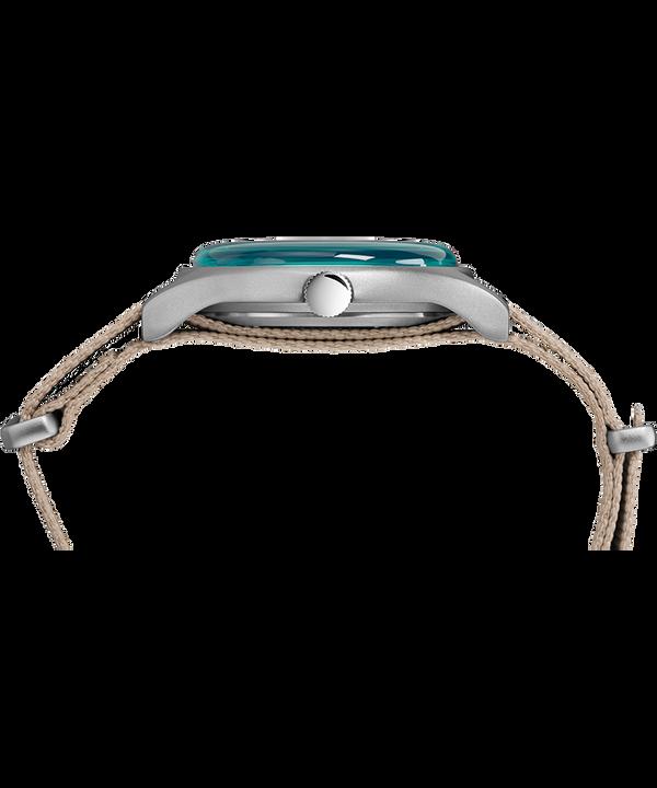 MK1 Aluminum California 40mm Fabric Strap Watch Silver-Tone/Gray/Blue large