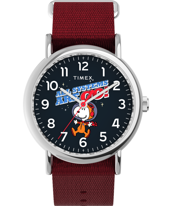 Timex x Space Snoopy Weekender 38mm Fabric Strap Watch  large