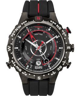 Intelligent Quartz Tide Temp Compass 43mm Silicone Strap Watch Black large