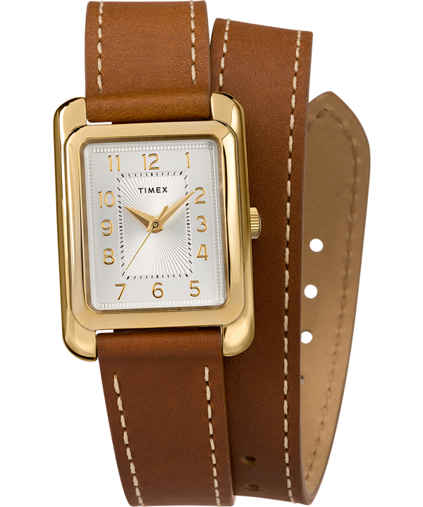 Addison Double Wrap 25mm Leather Strap Watch  large