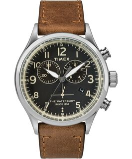 Waterbury traditional chrono contactless payment 42mm leather watch Brown large