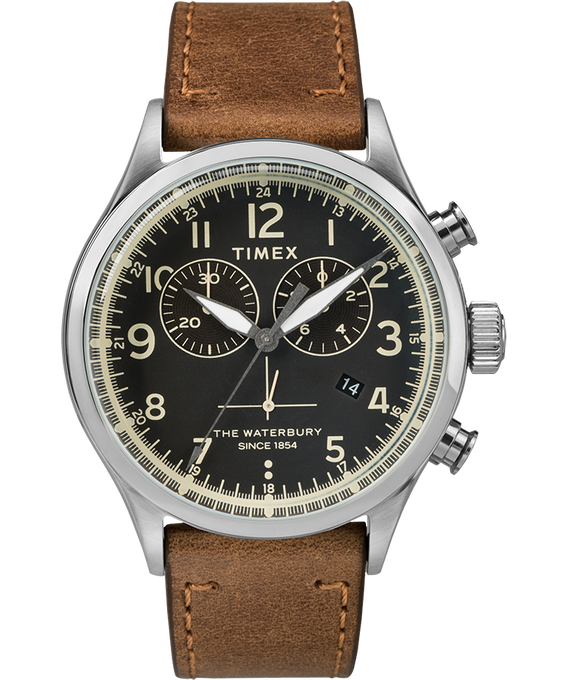 Waterbury Traditional Chronograph Contactless 42mm Leather Strap Watch Brown large