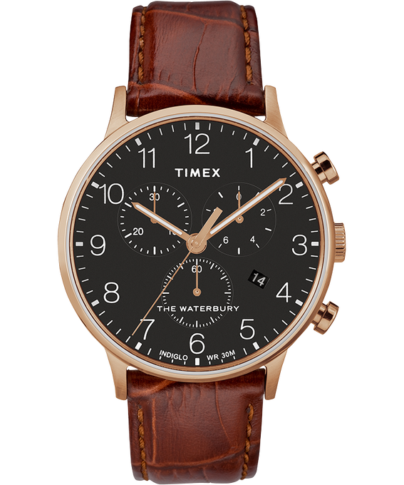 Waterbury Classic Contactless 40mm Leather Strap Watch black-brown-rose-gold-tone large
