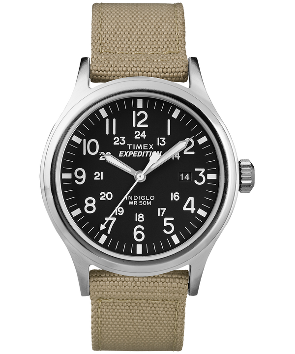 Expedition Scout 40mm Nylon Strap Watch Silver-Tone/Tan/Black (large)