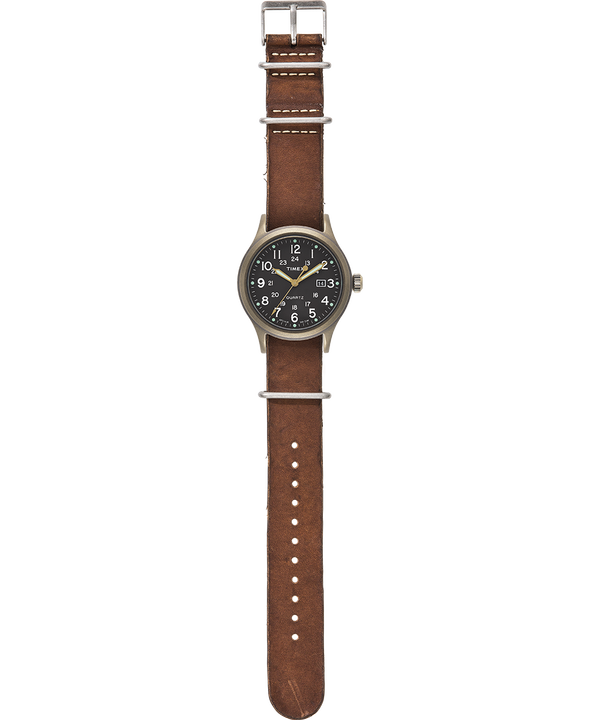 Allied 40mm Stonewashed Leather Strap Watch Bronze-Tone/Brown/Black large