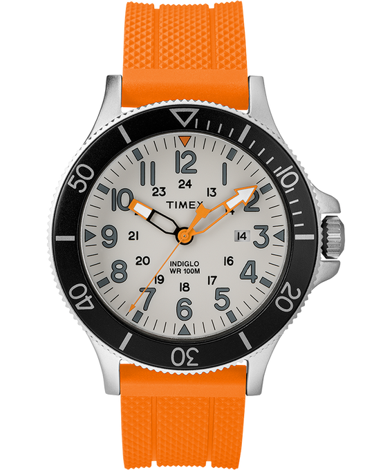 Allied Coastline 43mm Silicone Strap Watch Silver-Tone/Orange/Gray/Black large