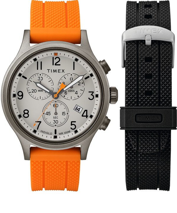 Allied Chronograph 42mm Gift Set with Extra Strap Gray/Orange large