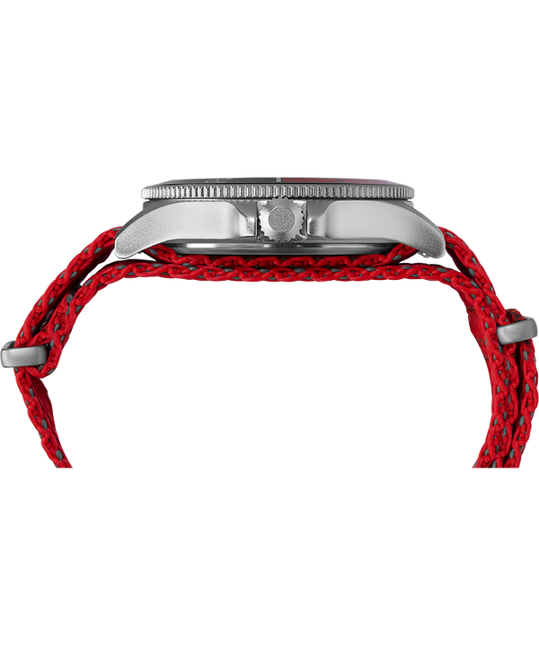 Allied Coastline 43mm Fabric Strap watch Silver-Tone/Red/Black large