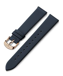 18mm Rose Gold Tone Buckle Leather Strap Blue large