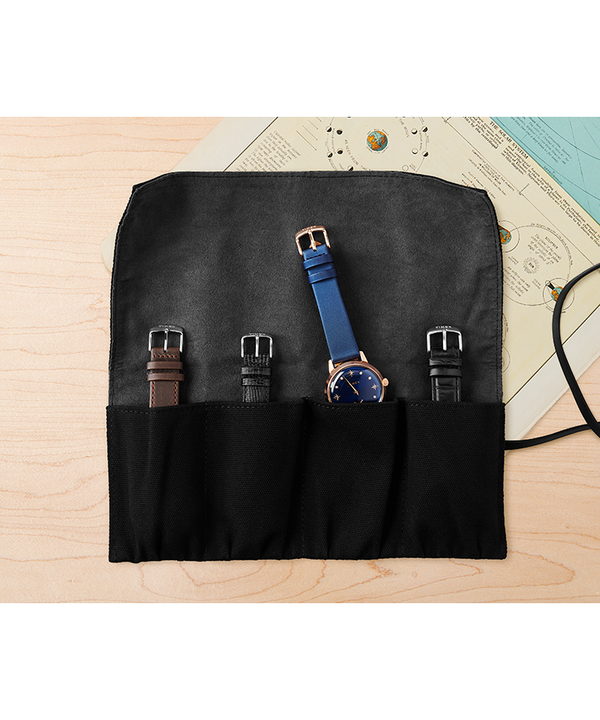 Canvas and Leather Roll For Two Watches Black large