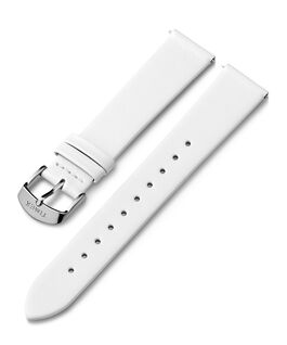 18mm Silver Tone Buckle Leather Strap White large
